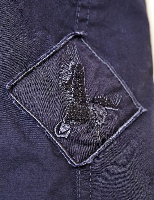 parka longue à capuche bleu marine