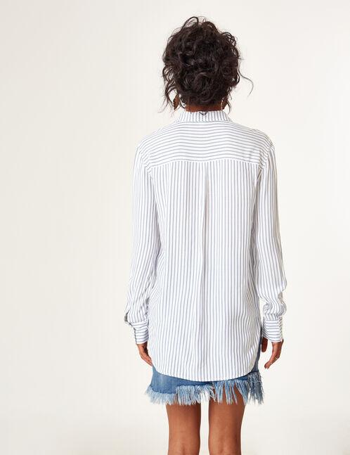chemise fluide rayée écrue et bleue
