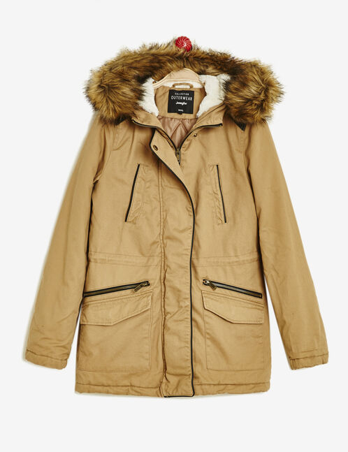 Light camel parka with faux leather detail