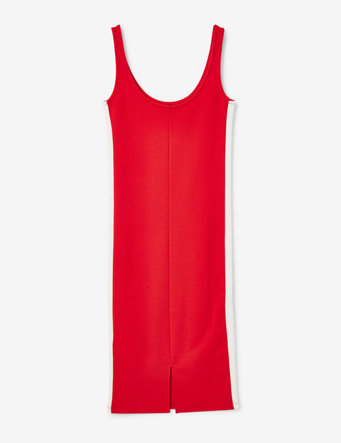Red tube dress with trim detail