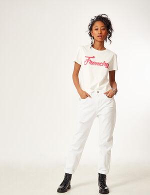 pantalon mom fit destroy blanc