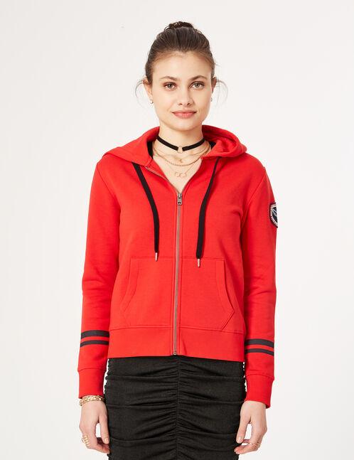 """Red """"keep track"""" zip-up hoodie"""