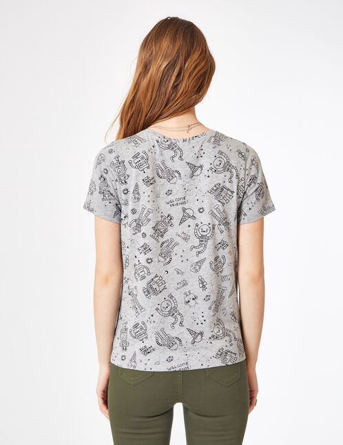 Grey marl printed T-shirt