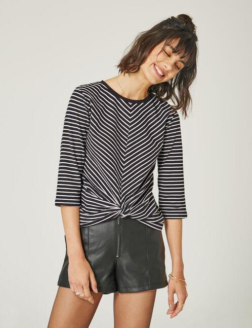 tee-shirt rayé effet nouer noir et blanc