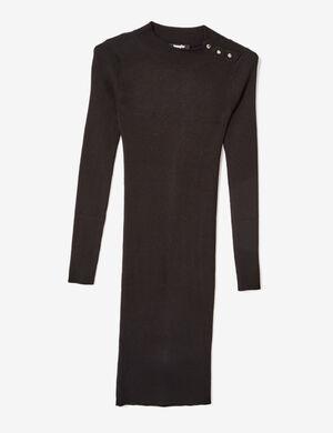 Product Robe femme, noir, maille côtelée, mi-longue, fermeture pressions sur l'épaule, col rond, manches longues.Marque Jennyfer Catégorie robes