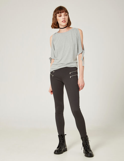 Black leggings with decorative zip detail