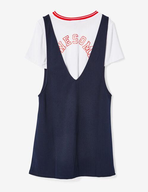tee-shirt et robe superposé écru et bleu marine