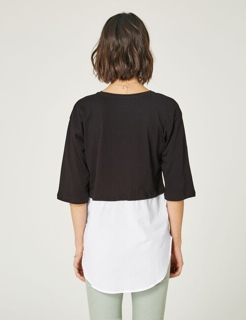 Black and white mixed fabric top
