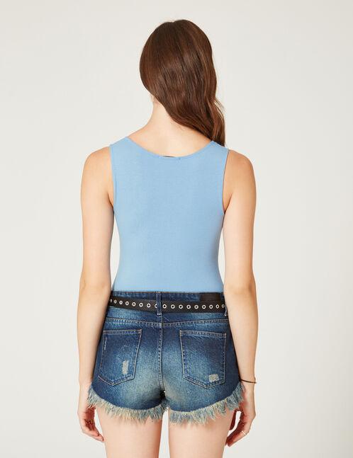 Light blue bodysuit with zip detail