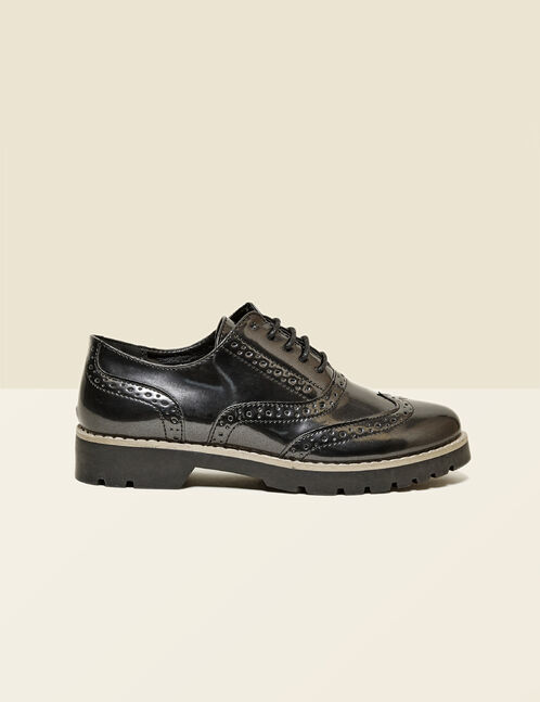Black derby shoes with perforated detail