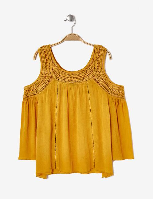 Ochre macramé blouse