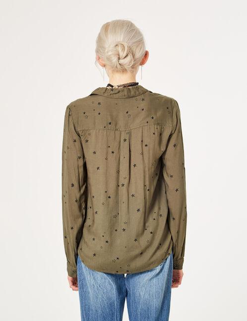 chemise avec étoiles kaki