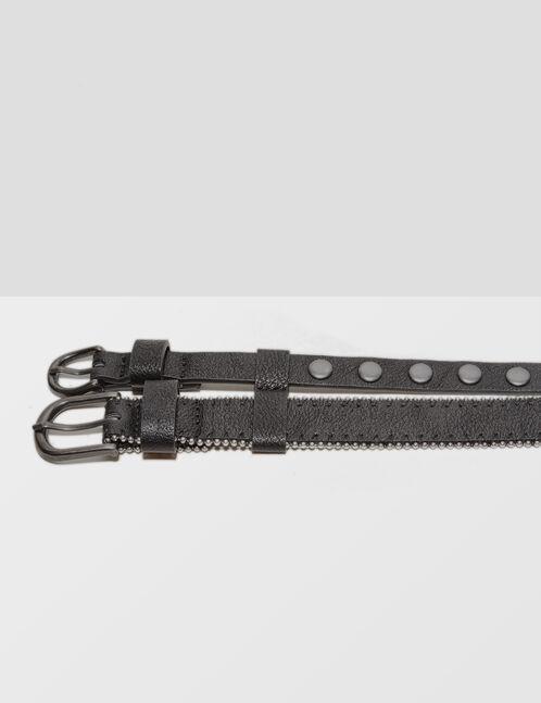 Black studded double belt