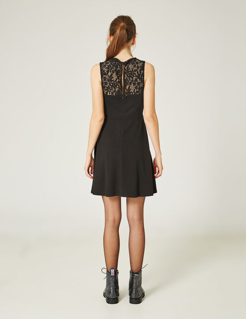 Black flared dress with lace detail