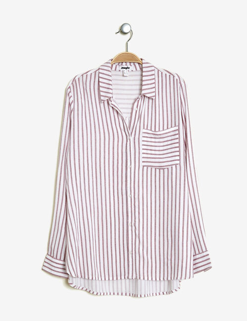 White and burgundy striped shirt
