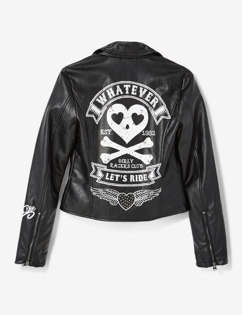 Black biker jacket with text design detail