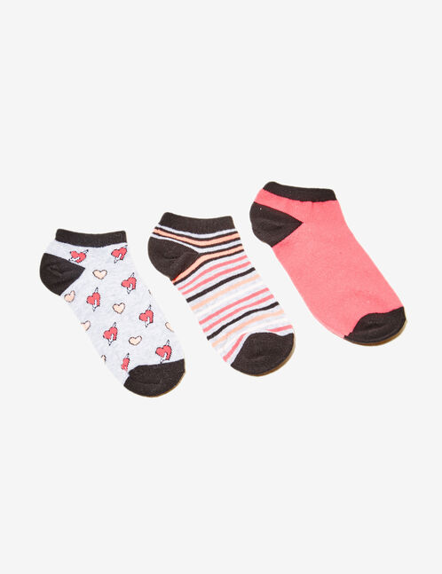 Black, coral, white and grey patterned socks