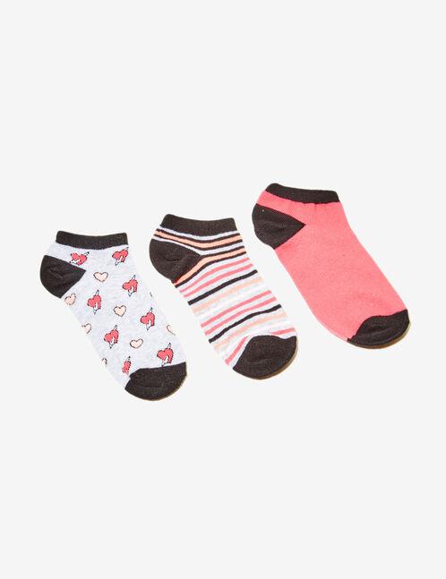 chaussettes fantaisies noires, corail, blanches et grises