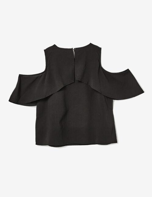 Black frilled blouse