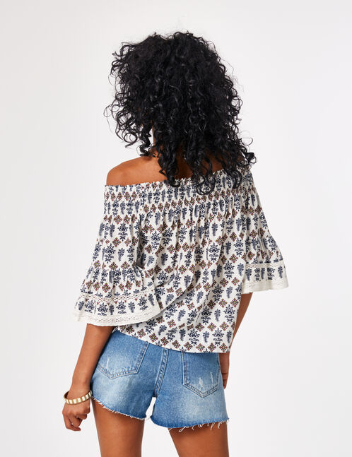Cream off-the-shoulder blouse