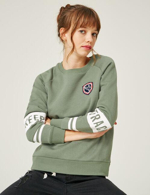 "Pale khaki ""keep track"" print sweatshirt"