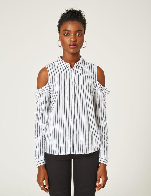 chemise épaules ajourées rayée blanche et noire
