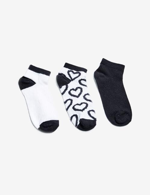 chaussettes motif coeur noires et écrues