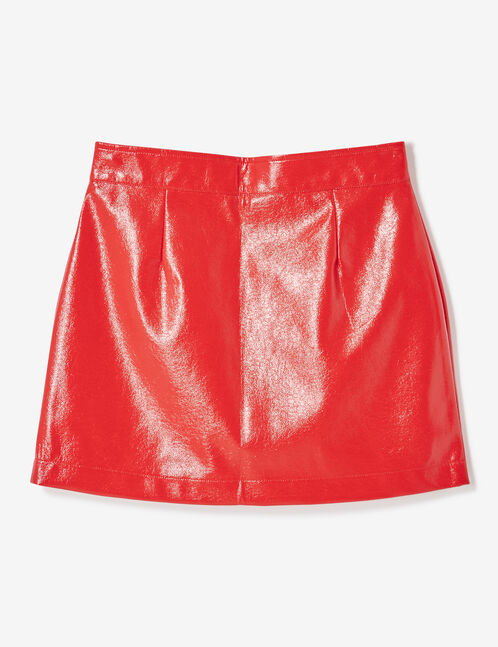 jupe vinyle zipée rouge