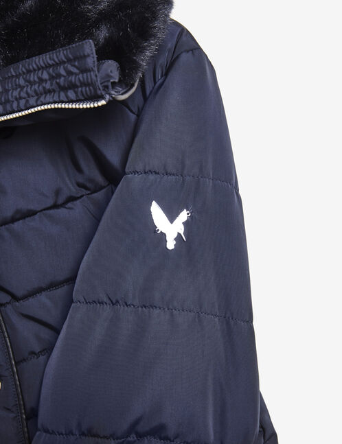 Navy blue padded jacket with zip detail