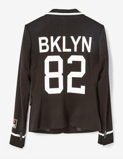 "Black ""BKLYN 82"" blazer"
