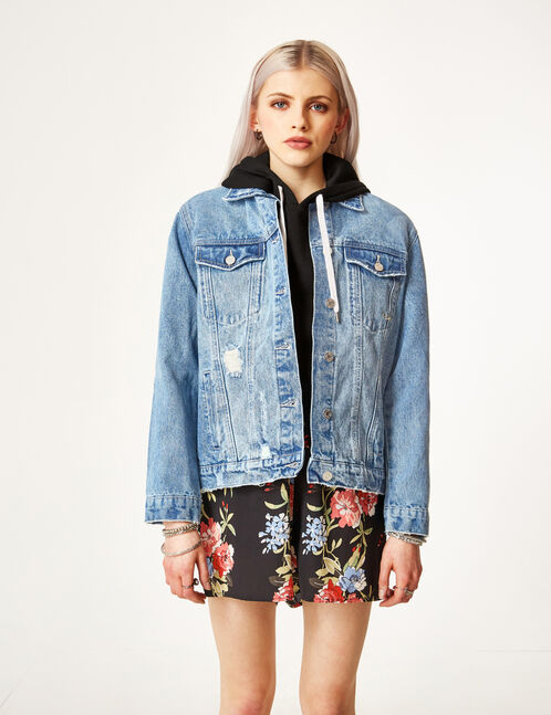 Medium blue denim jacket with stud detail