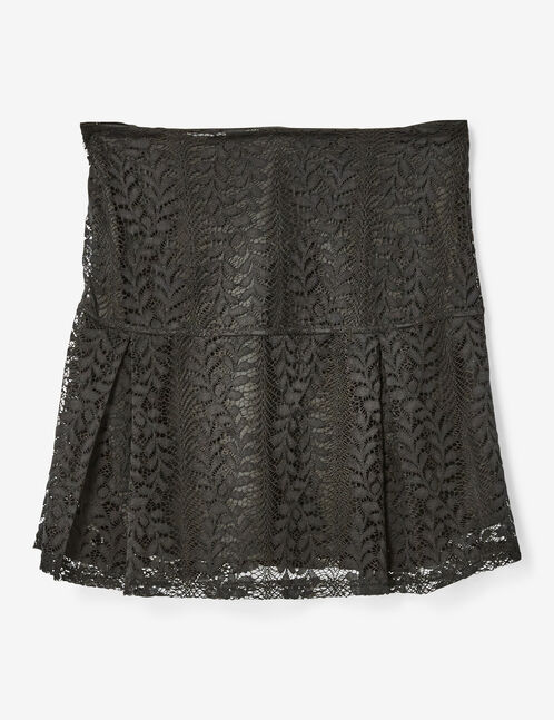 Black flared lace skirt