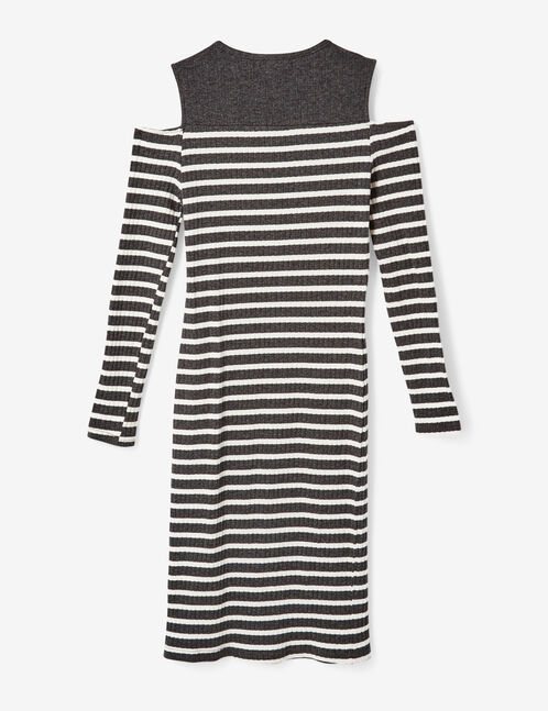 Charcoal grey marl and cream striped cold shoulder dress