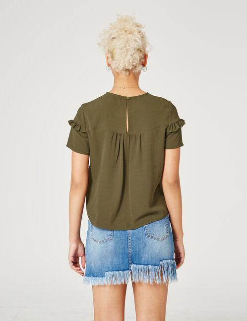 blouse avec petits volants kaki