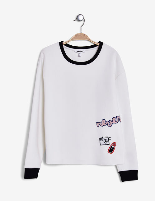 Cream neoprene sweatshirt with patch detail
