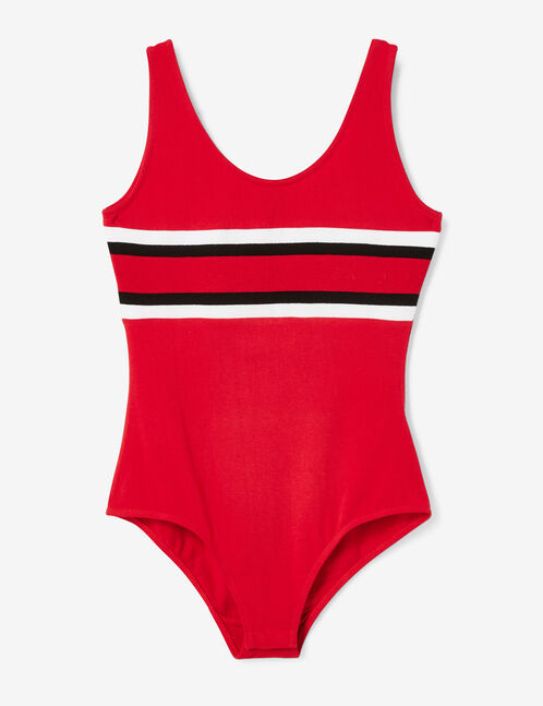 Red bodysuit with stripe detail