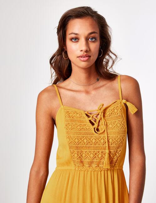 Ochre maxi dress with macramé detail