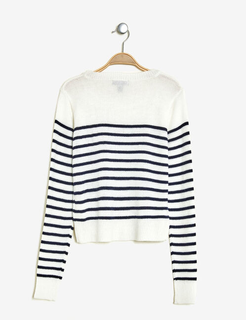 Cream and navy blue striped jumper