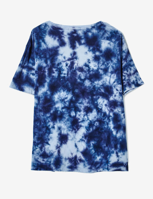 Blue tie-dye T-shirt with text design detail