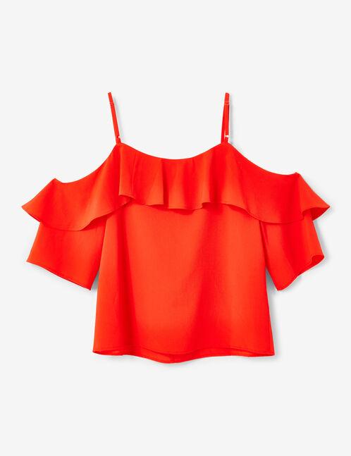 blouse épaules ajourées rouge