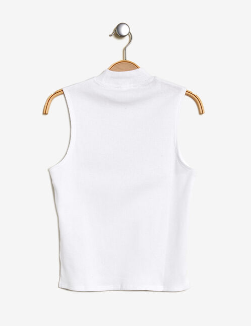 Short white high-neck tank top