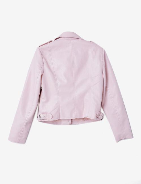 veste biker zip déco rose clair