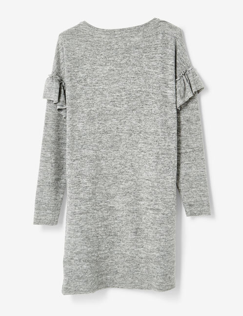 Grey marl dress with frill detail