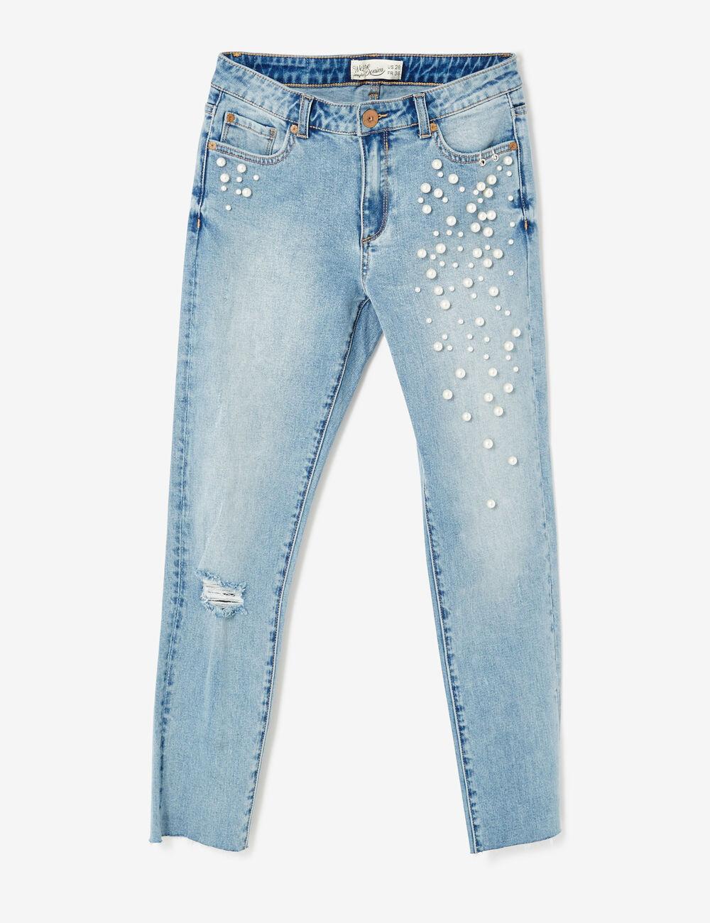 jean skinny avec perles bleu clair femme jennyfer. Black Bedroom Furniture Sets. Home Design Ideas
