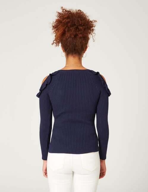 Navy blue jumper with frill detail