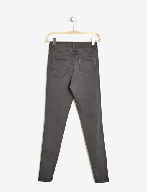Charcoal grey high-waisted ripped trousers