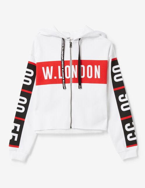 """White """"London"""" zip-up hoodie"""
