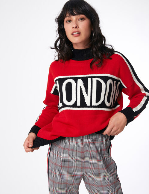 pull w.london tricolore rouge