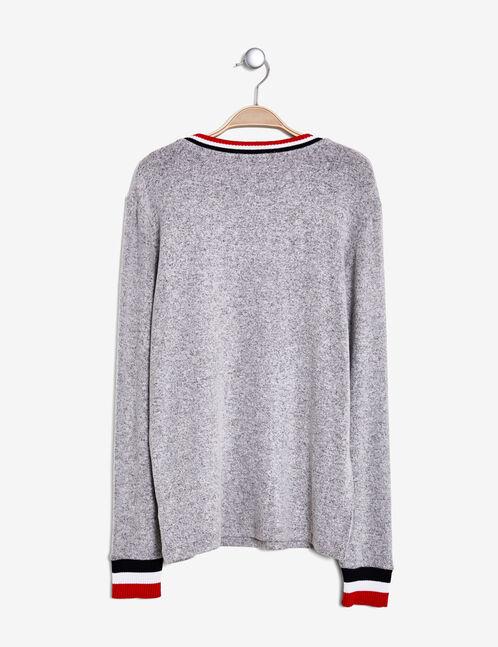 "Grey marl ""best friends"" print T-shirt"