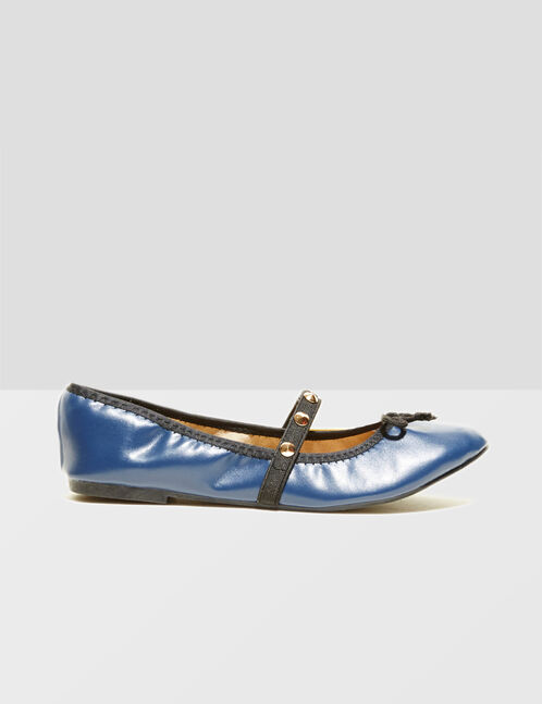 Navy blue ballet pumps with stud detail